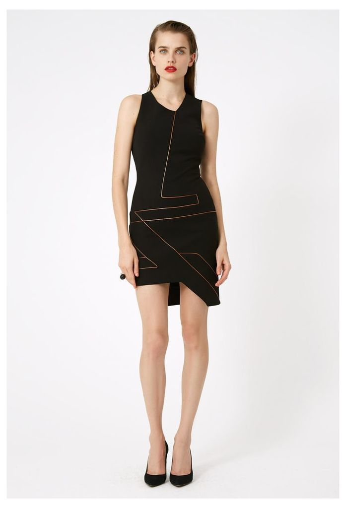 Ina Asymmetric Mini Dress - Black / Gold