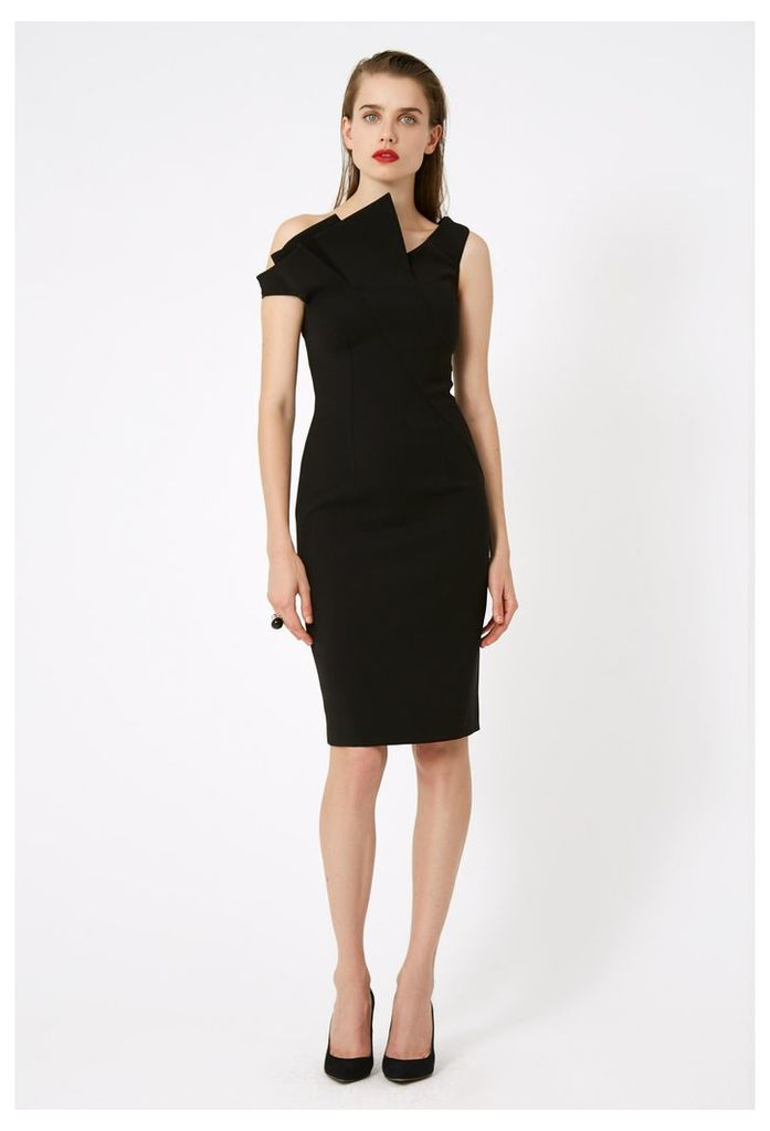Iris Structured Midi Dress - Black