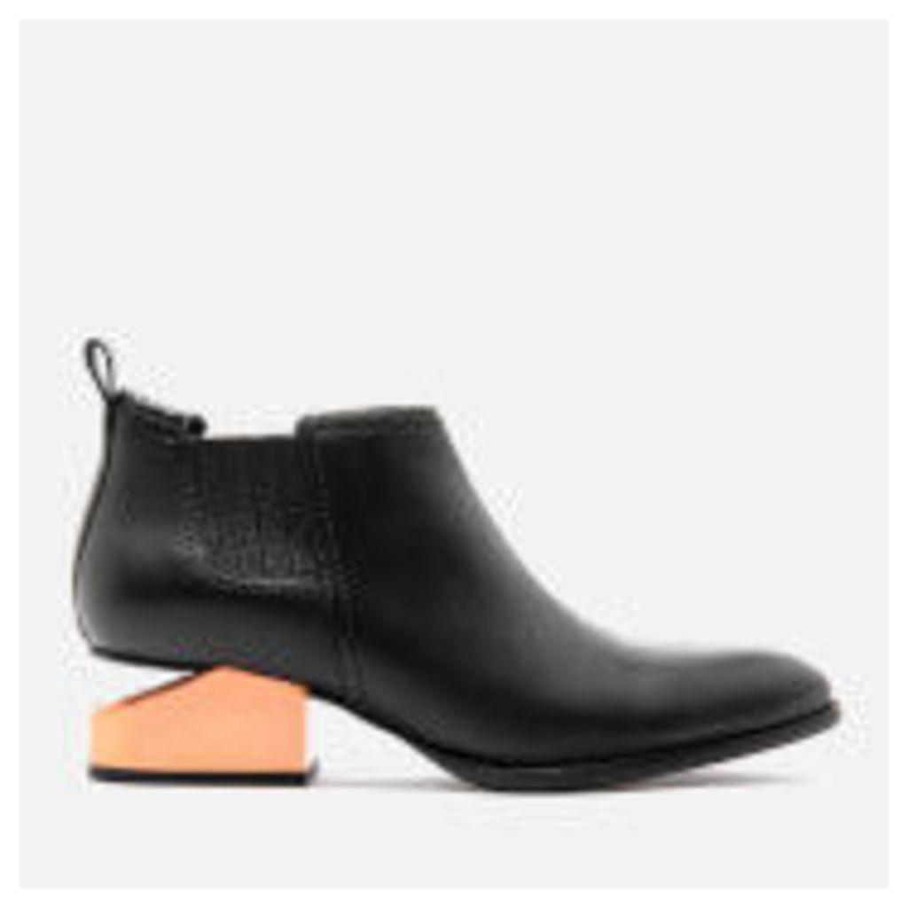Alexander Wang Women's Kori Tumbled Leather Rose Gold Metal Heeled Ankle Boots - Black - EU 40/UK 7 - Black