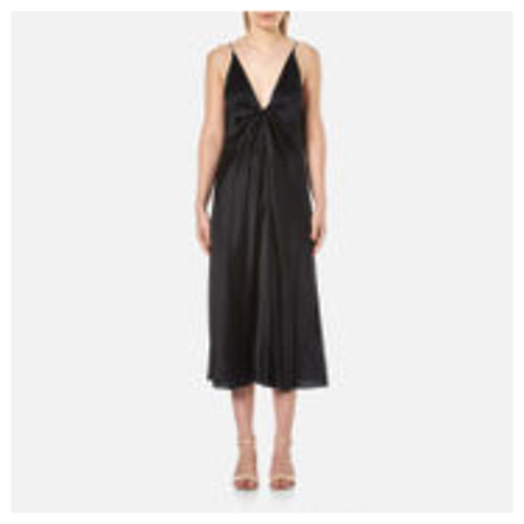 T by Alexander Wang Women's Silk Hammered Charmeuse Tie Knot Sleeveless Dress - Black - UK 8/US 4 - Black