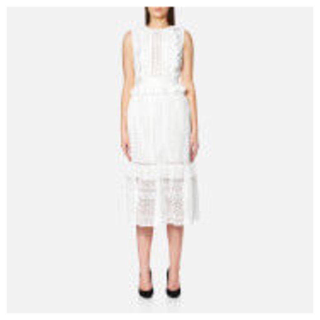 Perseverance Women's Stripe Guipure Lace Sleeveless Midi Dress - Off White - UK 10 - White