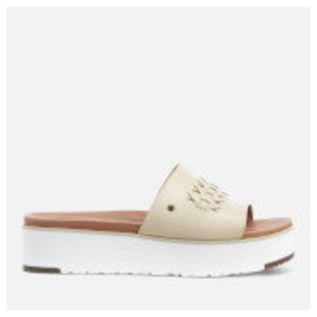 UGG Women's Delaney Treadlite Leather Flatform Slide Sandals - Canvas - UK 3.5 - Beige