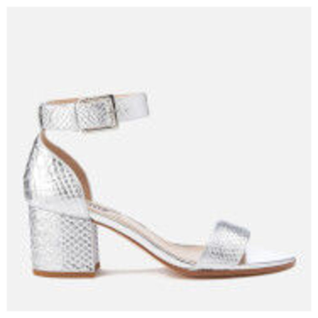 Dune Women's Jaygo Barely There Blocked Heeled Sandals - Silver Reptile - UK 4 - Silver
