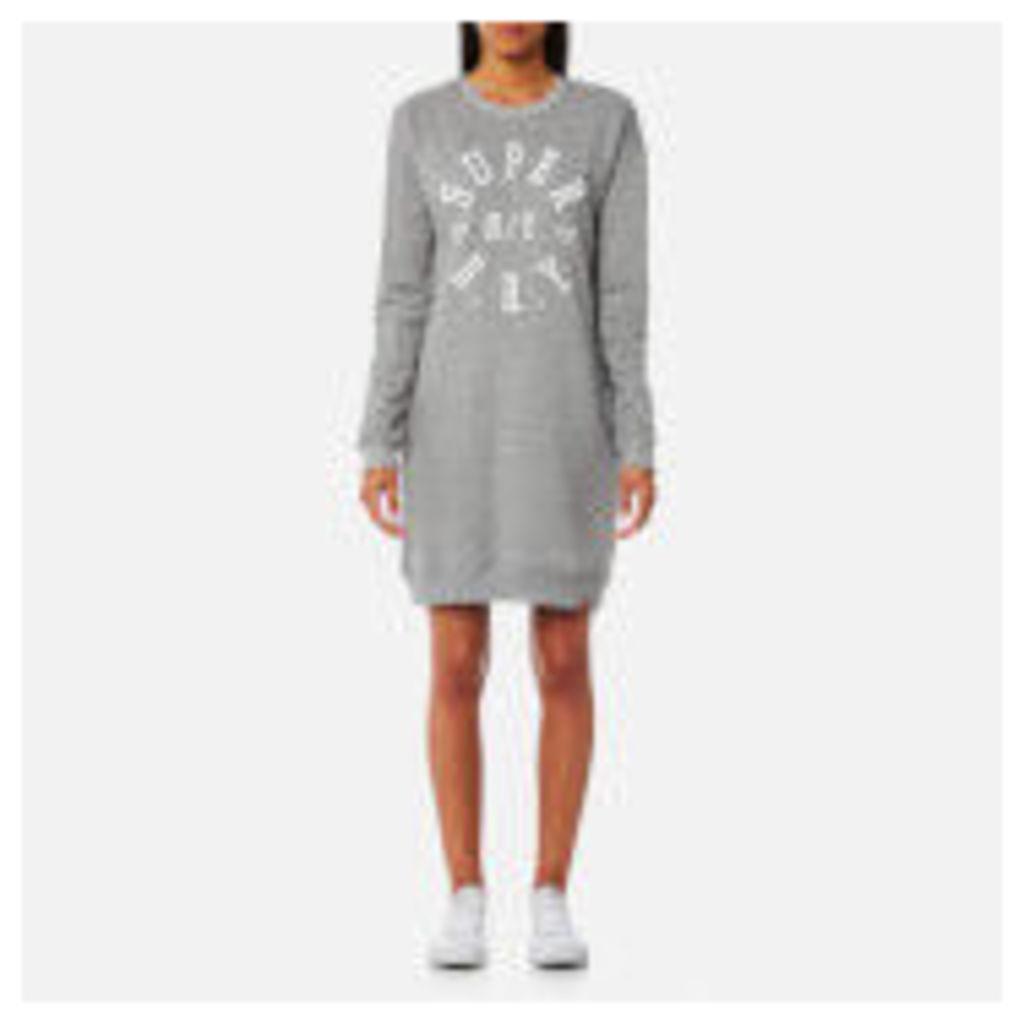 Superdry Women's Applique Crew Dress - Sporty Charcoal Grit - XS - Grey