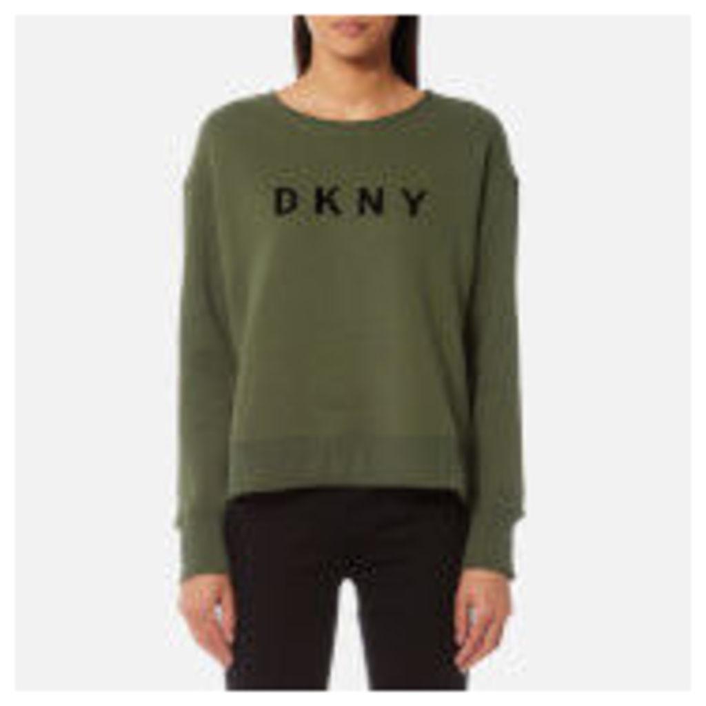 DKNY Sport Women's Boxy Cropped Logo Pullover Sweatshirt - Ivy - XS - Green
