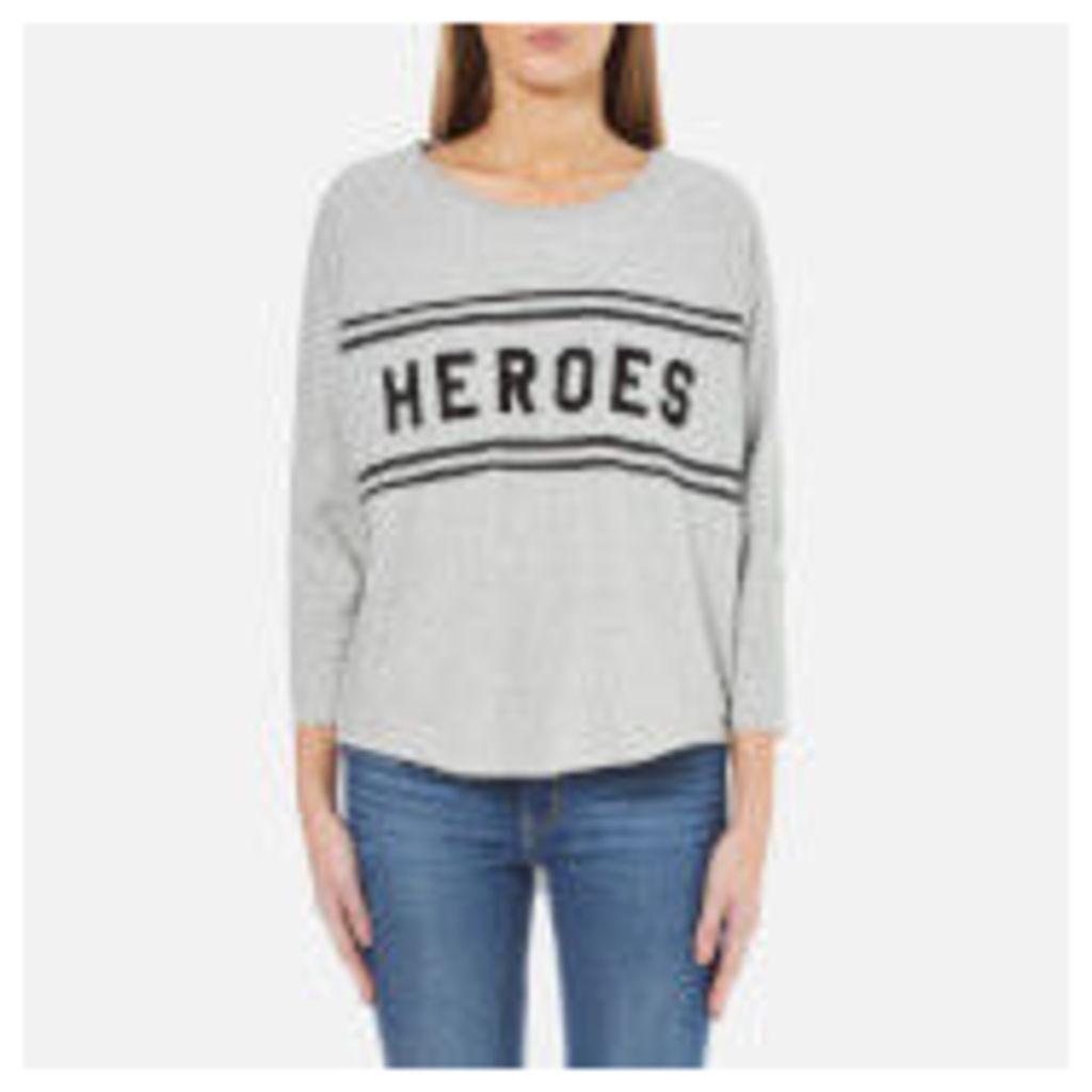 Maison Scotch Women's Loose Fitted Sweatshirt with a Raw Hem - Grey Melange - UK 8/1 - Grey
