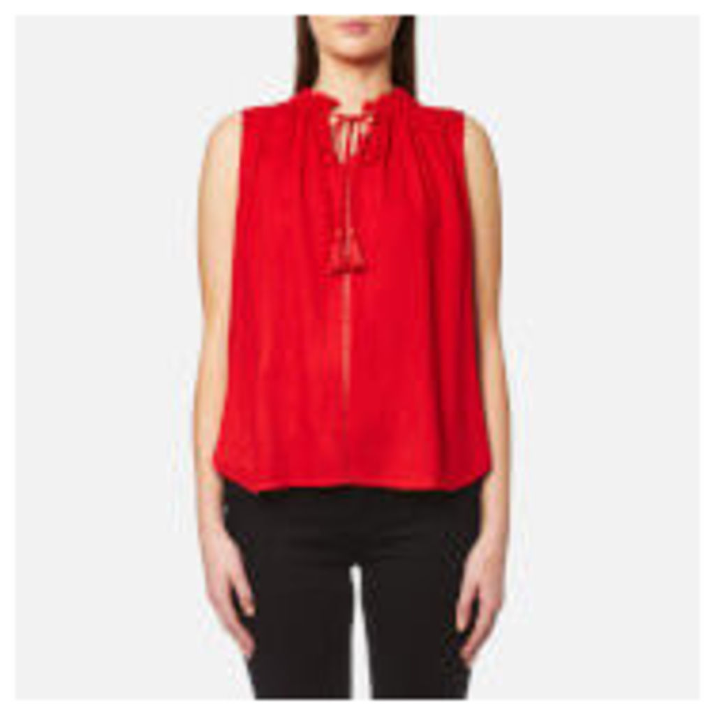 Maison Scotch Women's Sleeveless Top with Ruffle Neckline and Ruffle Inserts - Red - 2/UK 10 - Red