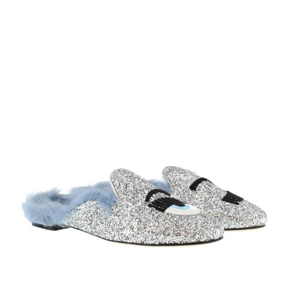 Chiara Ferragni Loafers & Slippers - Sabot Fur Silver Glitter - in blue, silver - Loafers & Slippers for ladies