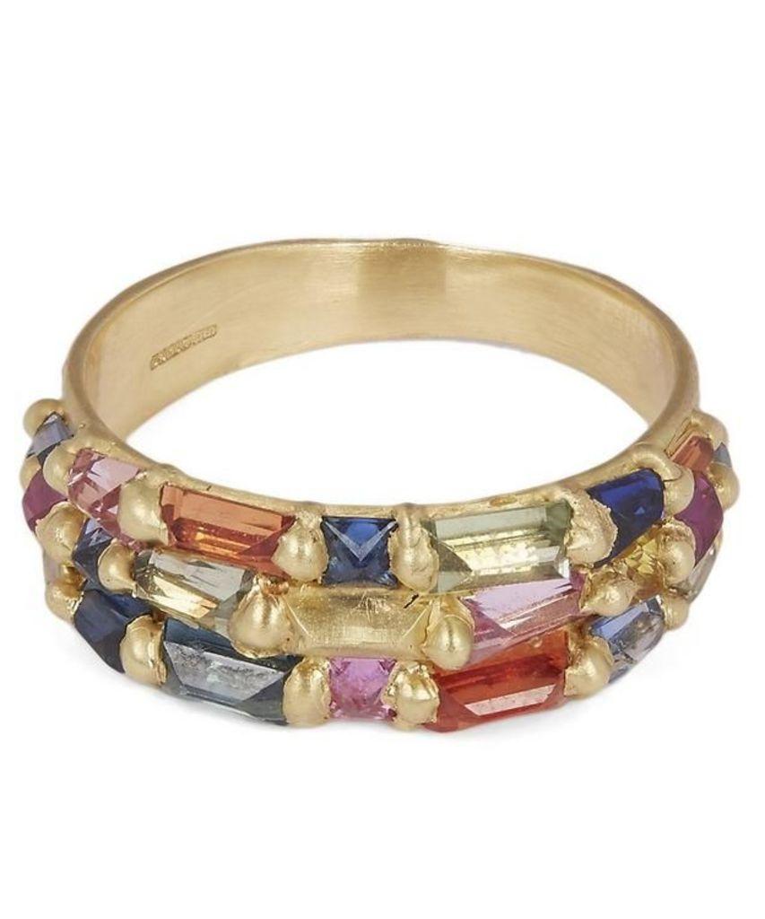 Gold Baguette Princess Cut Rainbow Sapphire Ring