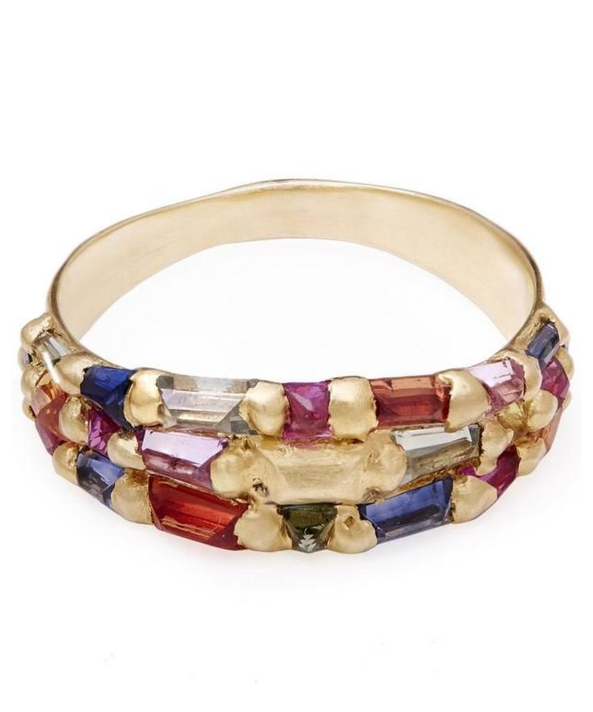 Gold Baguette Sapphire Wide Tapered Ring