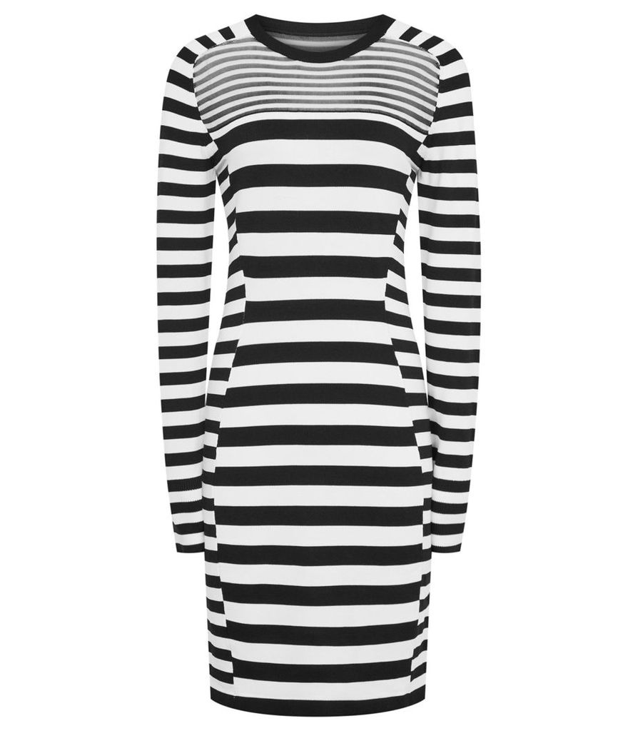 Reiss Jolie - Knitted Bodycon Dress in Black/White, Womens, Size 4