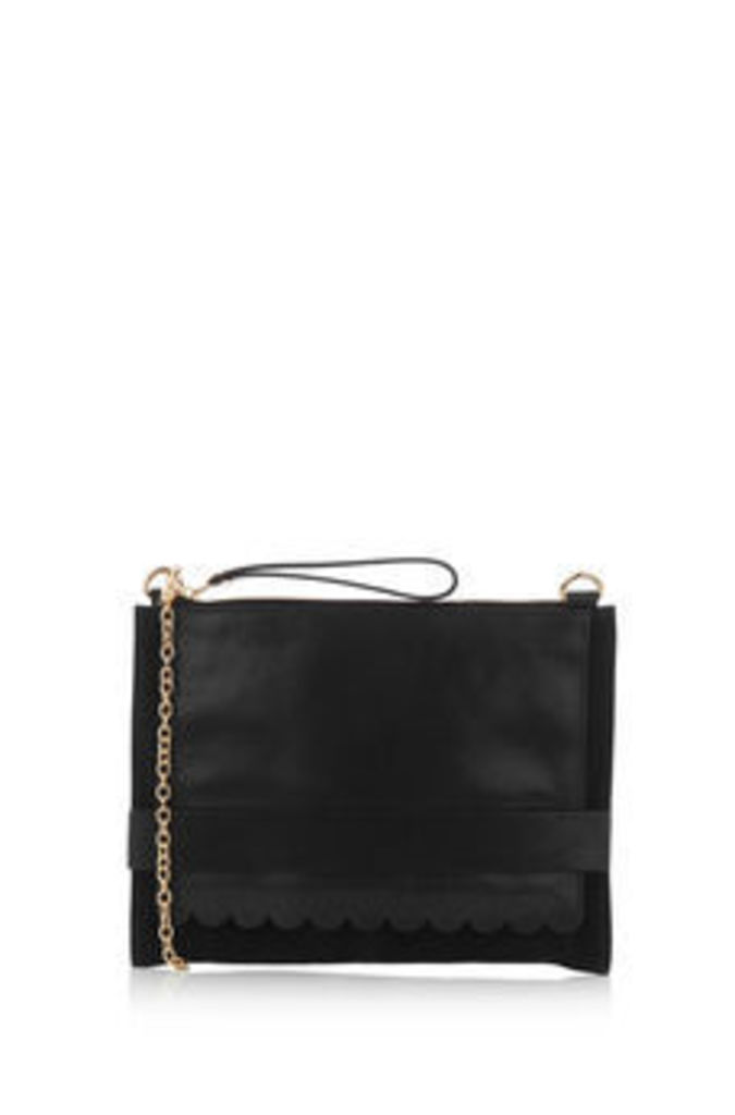 LEATHER SCALLOP CLUTCH