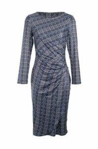 Aztec Ruched Midi Dress