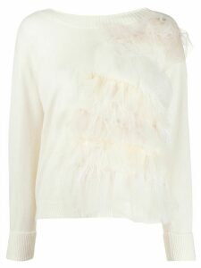 Twin-Set long sleeve ruffled trim jumper - White