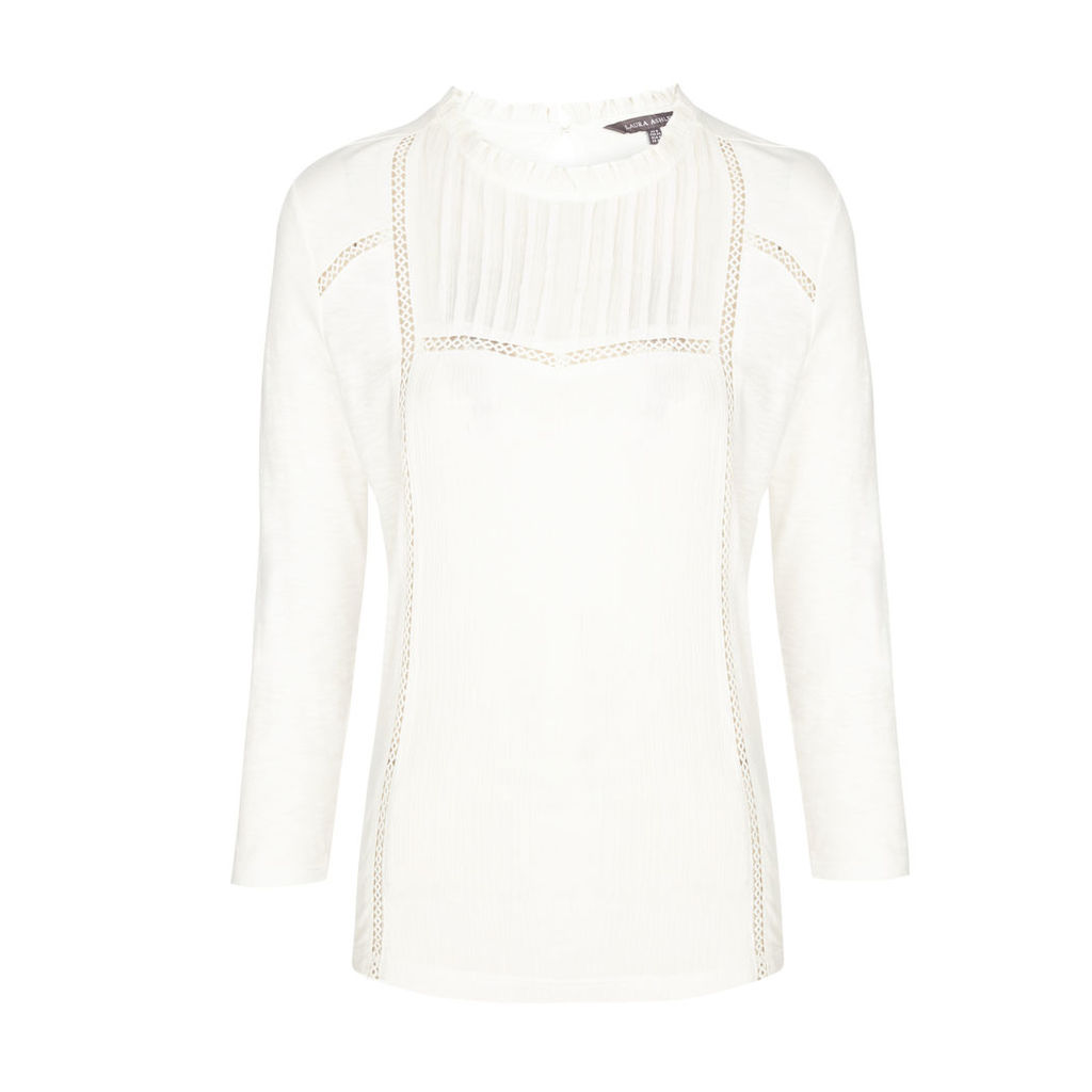 White Crinkle Woven Detail Top