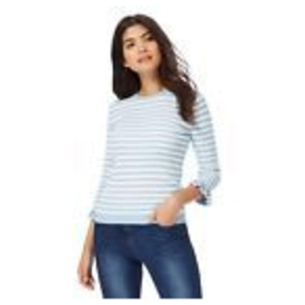 Red Herring Womens Blue And White Stripe Ruffle Sleeves Jumper From Debenhams
