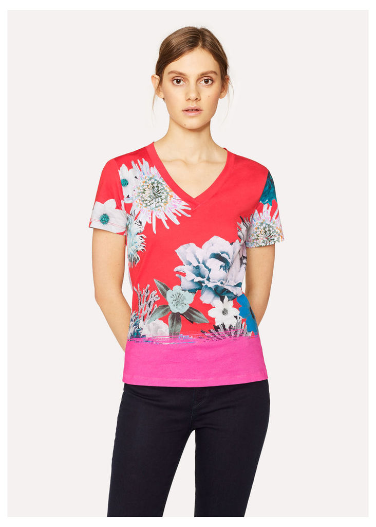 Women's Red 'Ocean Floral' V-Neck Cotton T-Shirt
