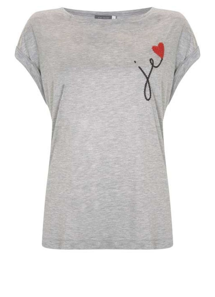 Grey Je Embroidered Heart Tee