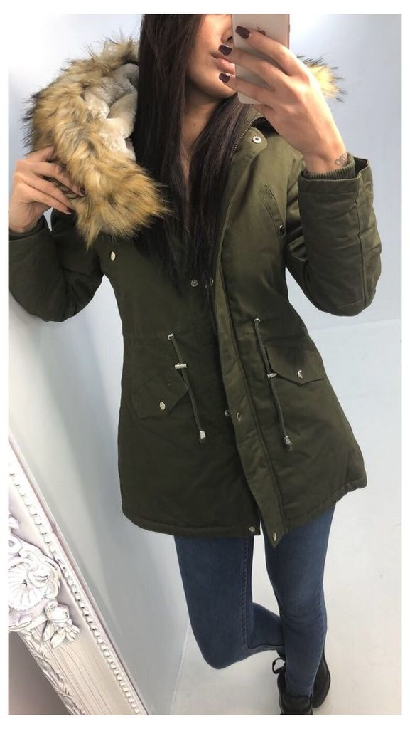 Melody TAN Faux Fur Hooded Coat