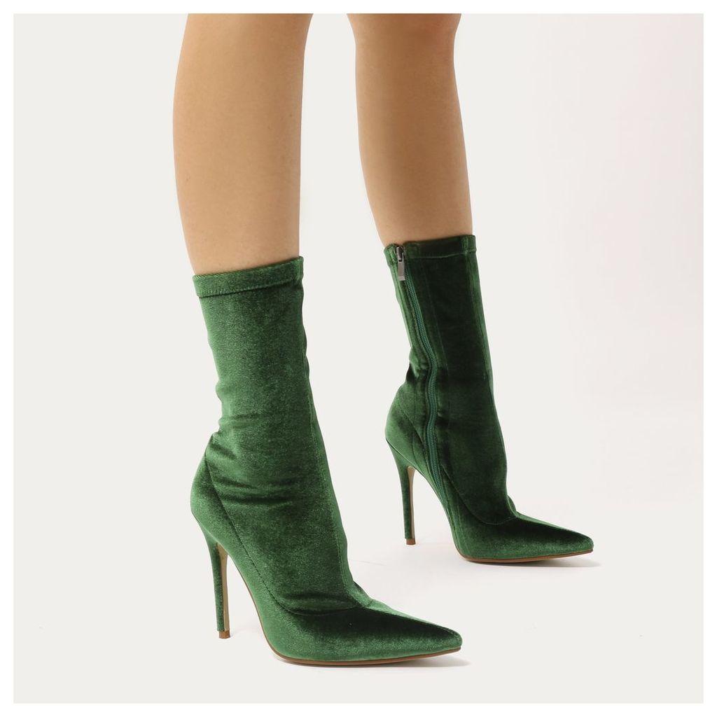 Direct Pointy Sock Boots  Velvet, Green