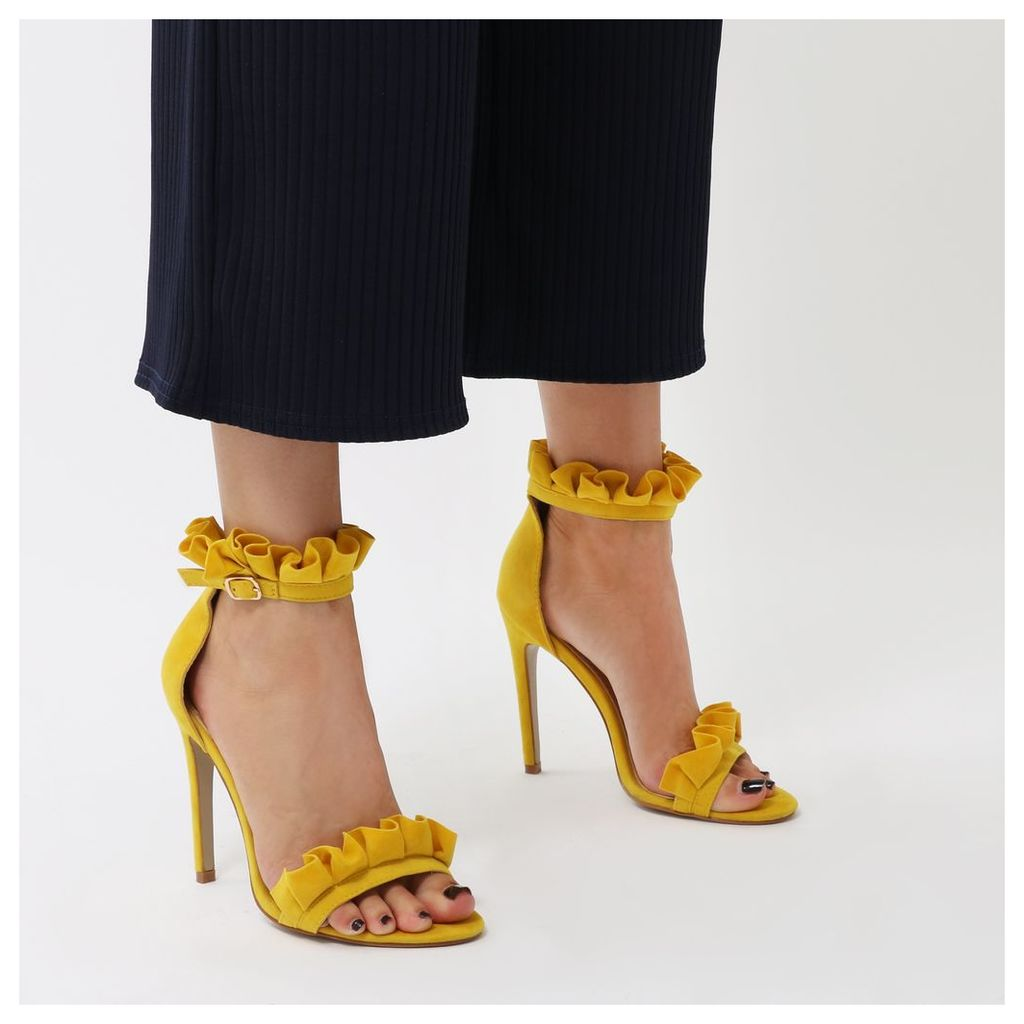 Lucid Frill Strap Barely There Heels  Faux Suede, Yellow