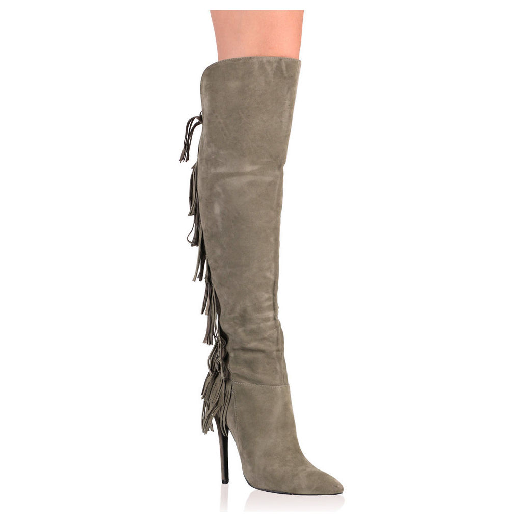 Gabbie Long Boots in Khaki, Brown