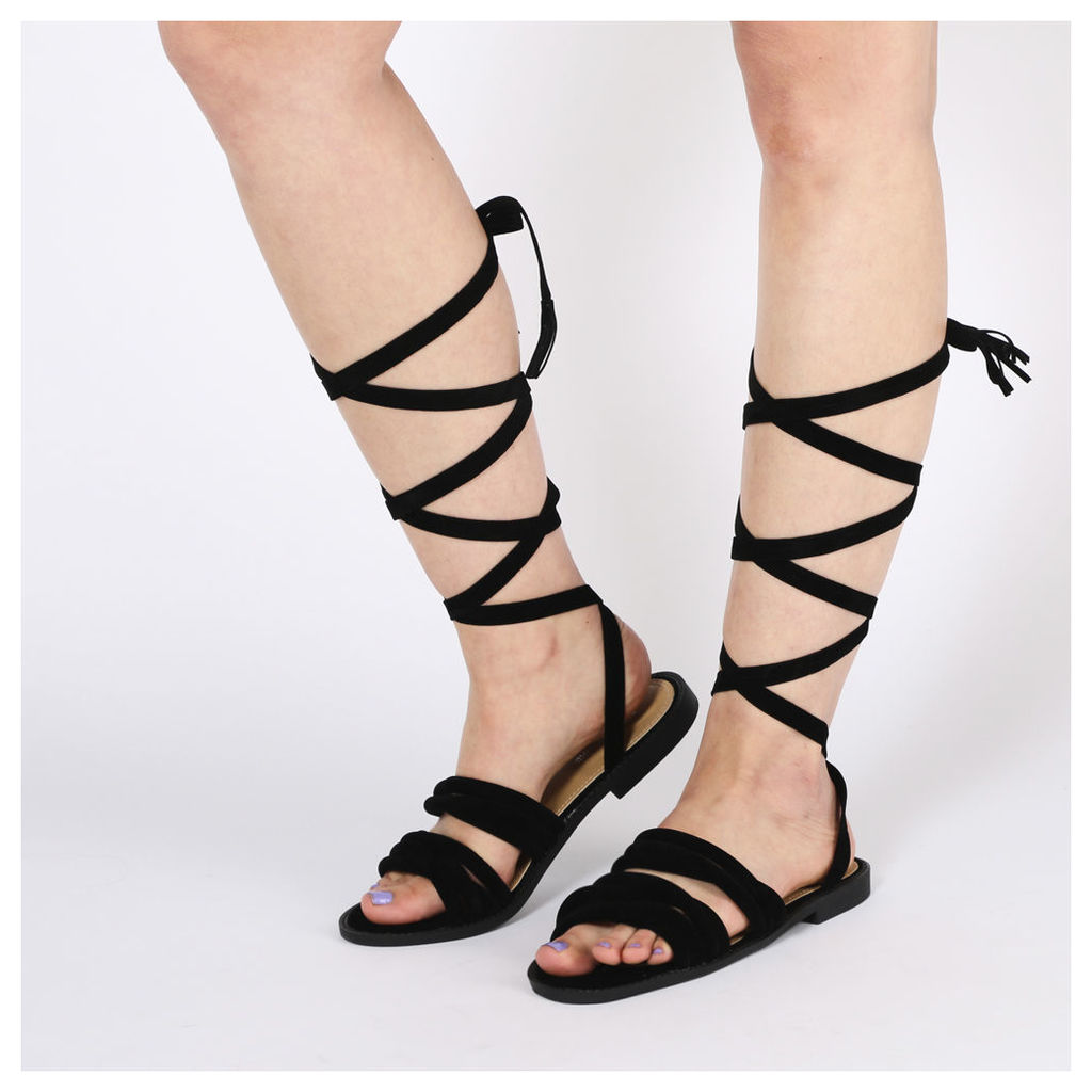 Madison Tube Strap Sandals  Faux Suede, Black