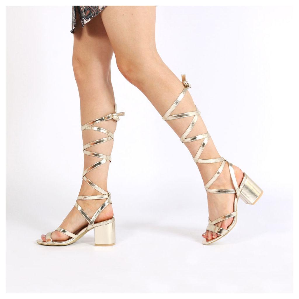Sophie Heeled Sandals, Gold