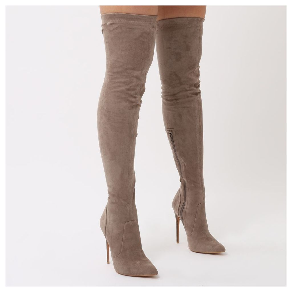 Sonar Pointed Toe Over The Knee Boots in Taupe Faux Suede, Grey