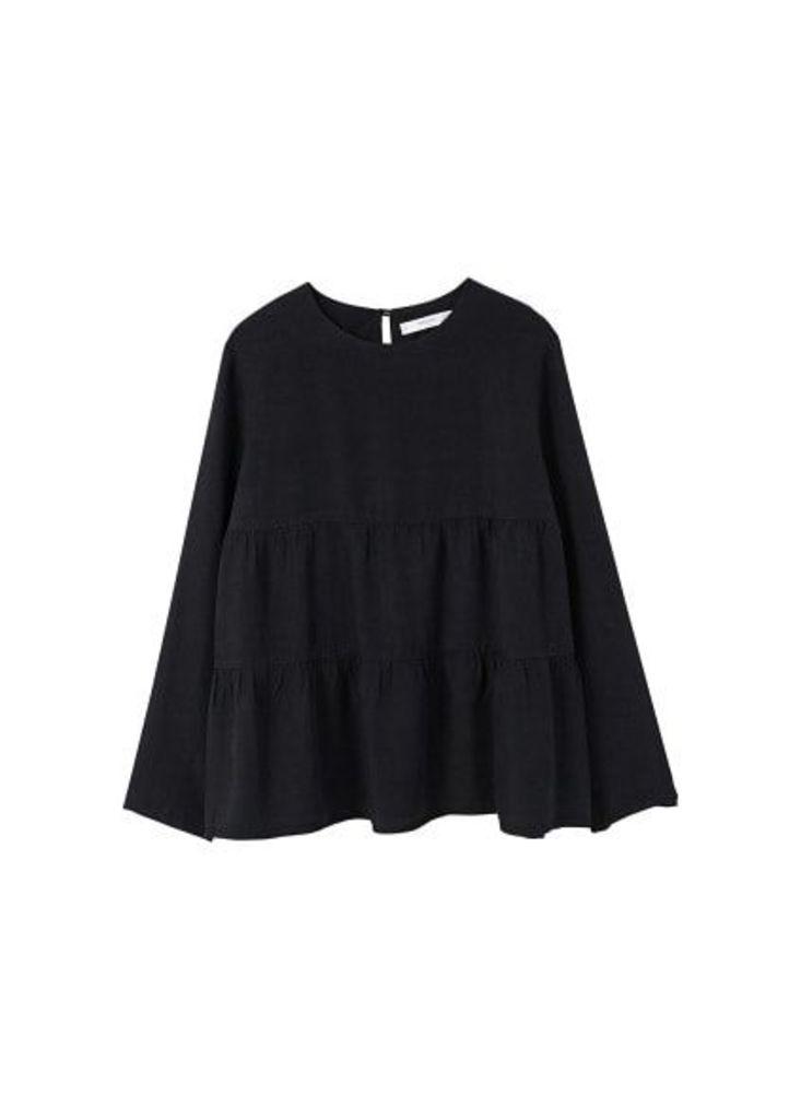 Ruffle soft fabric blouse