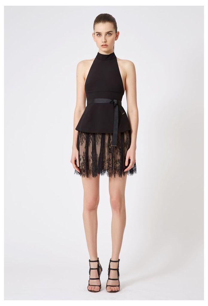 Maylee Halter Neck Mini Dress - Black / Black Lace