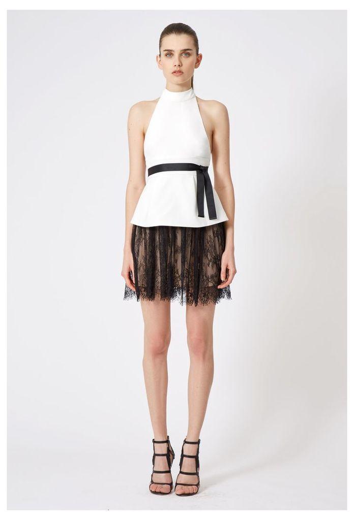 Maylee Halter Neck Mini Dress - White / Black Lace