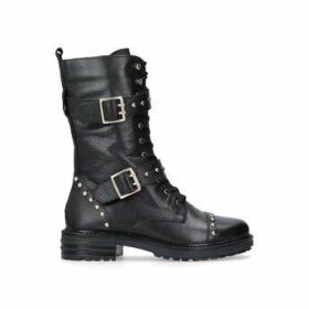 Kurt Geiger London Sting - Black Leather Lace Up Biker Boots