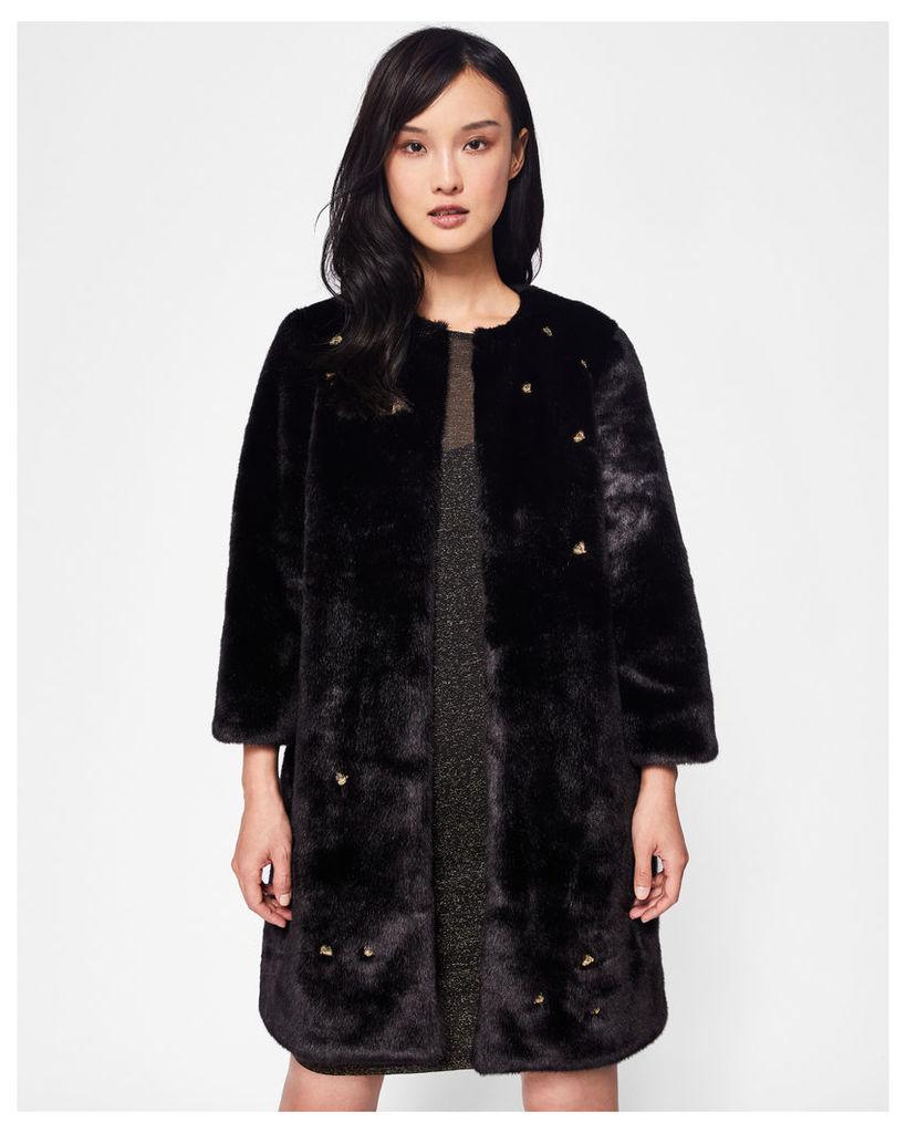 Ted Baker Embellished Bee faux fur coat Black