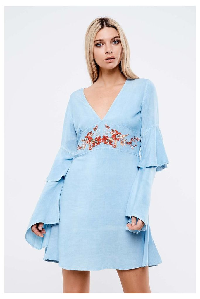Neon Rose  Embroidered Babydoll Dress - Blue
