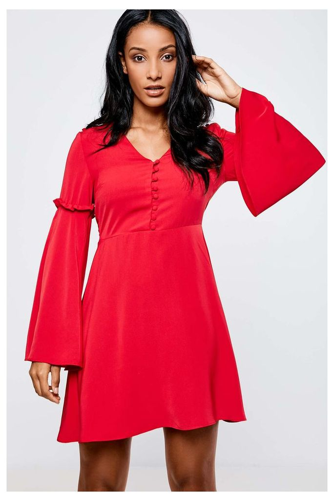 Neon Rose Fluted Sleeve Tea Dress - Red