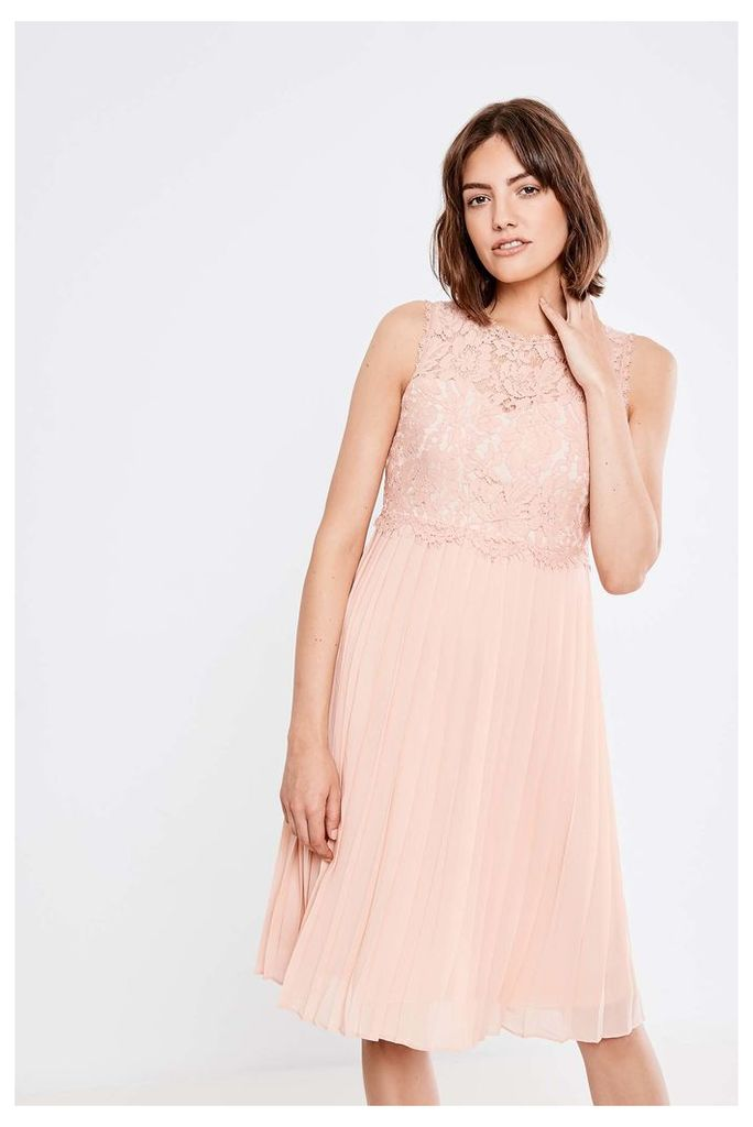 Brand Attic Pleated Lace Midi Dress - Pink