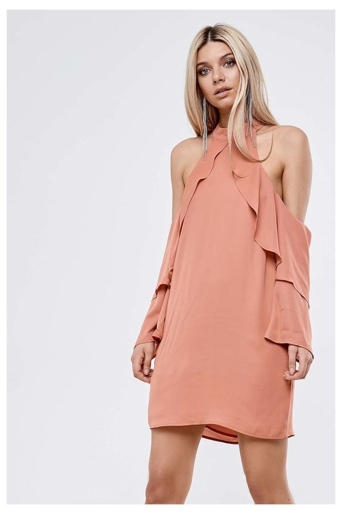 Neon Rose Cold Shoulder Shift Dress - Pink