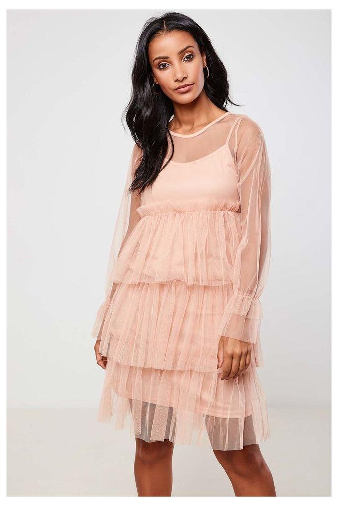 Brand Attic Mesh Tiered Midi Dress - Pink