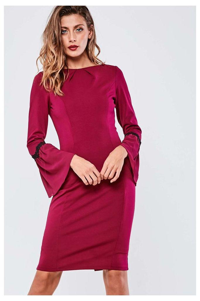 Paper Dolls Flute Sleeve Midi Dress - Red