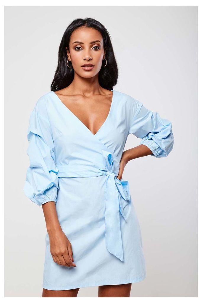 Parallel Lines Wrap Dress - Blue