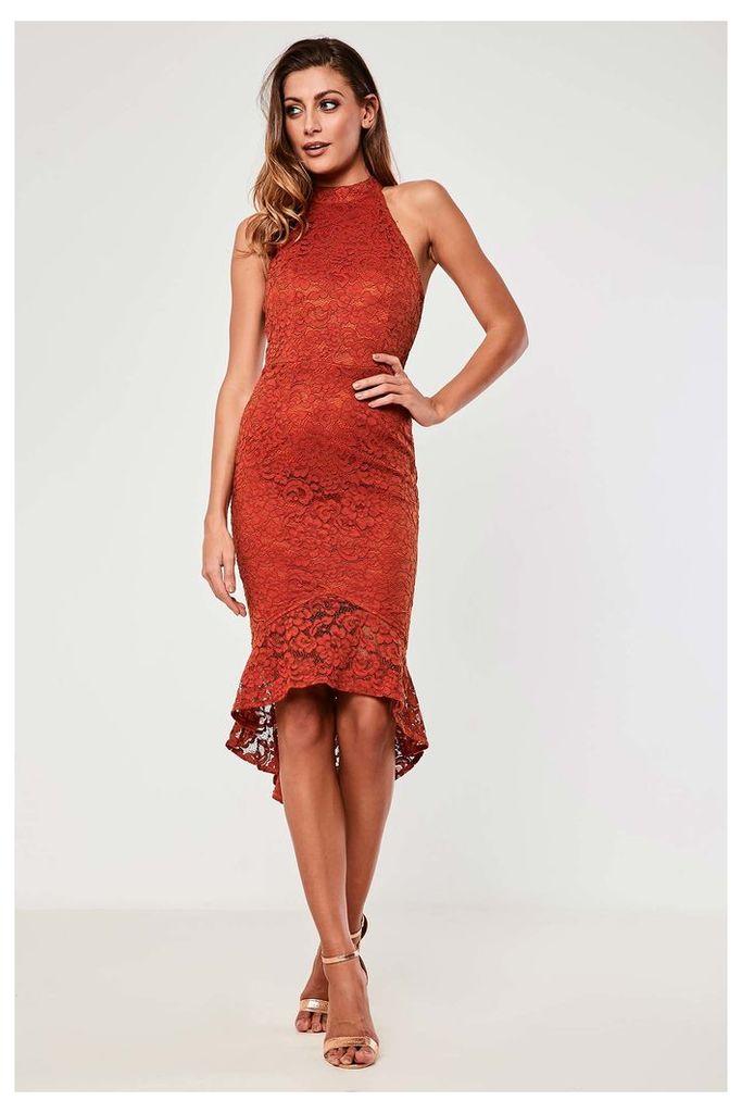 Girl In Mind Halter Neck Lace Dress - Orange