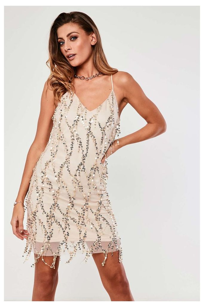 Girl In Mind Dropped Sequin Cami Dress - Cream
