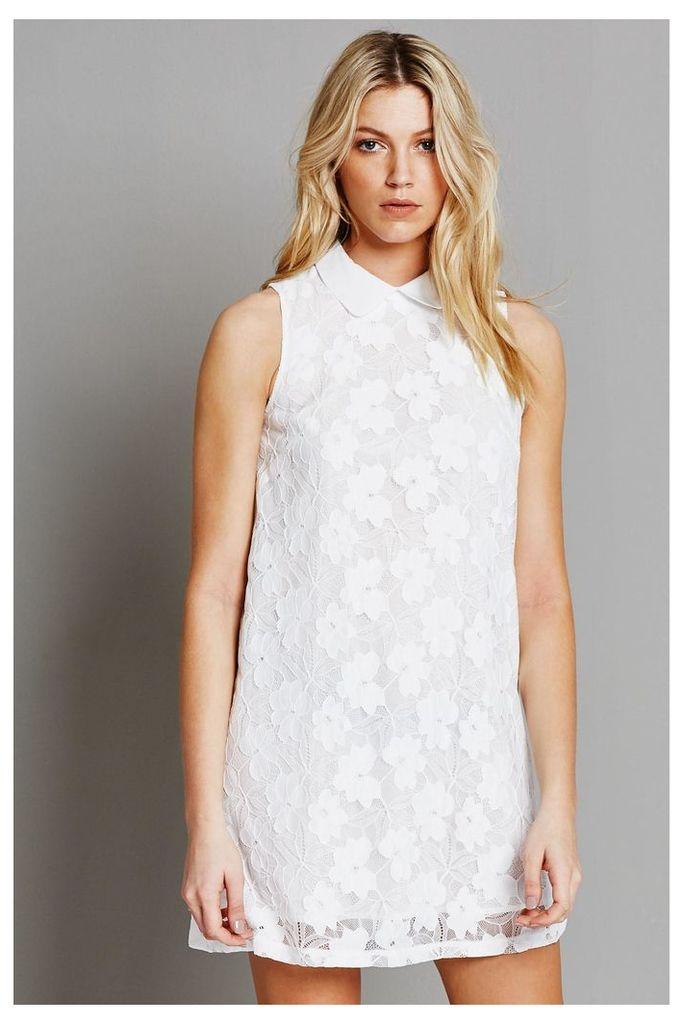 Fashion Union Lace Shift Dress with Collar - White