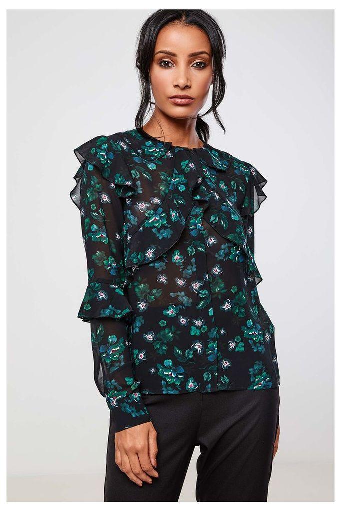 Fashion Union Floral Print Ruffle Blouse - Green