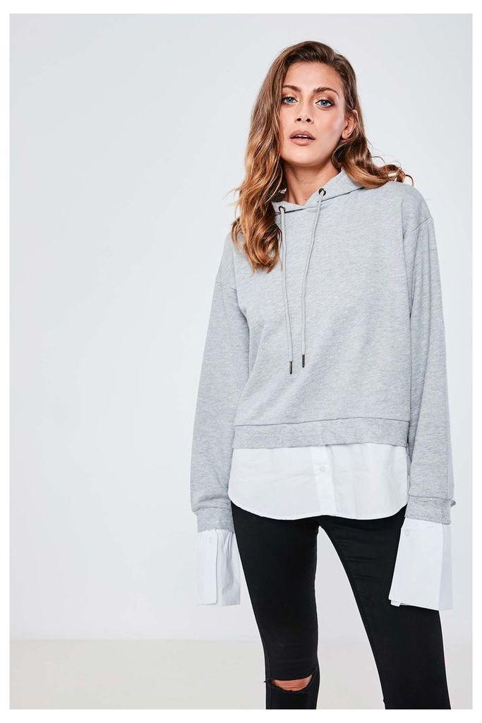 Brand Attic Layered Hoodie And Shirt - Grey