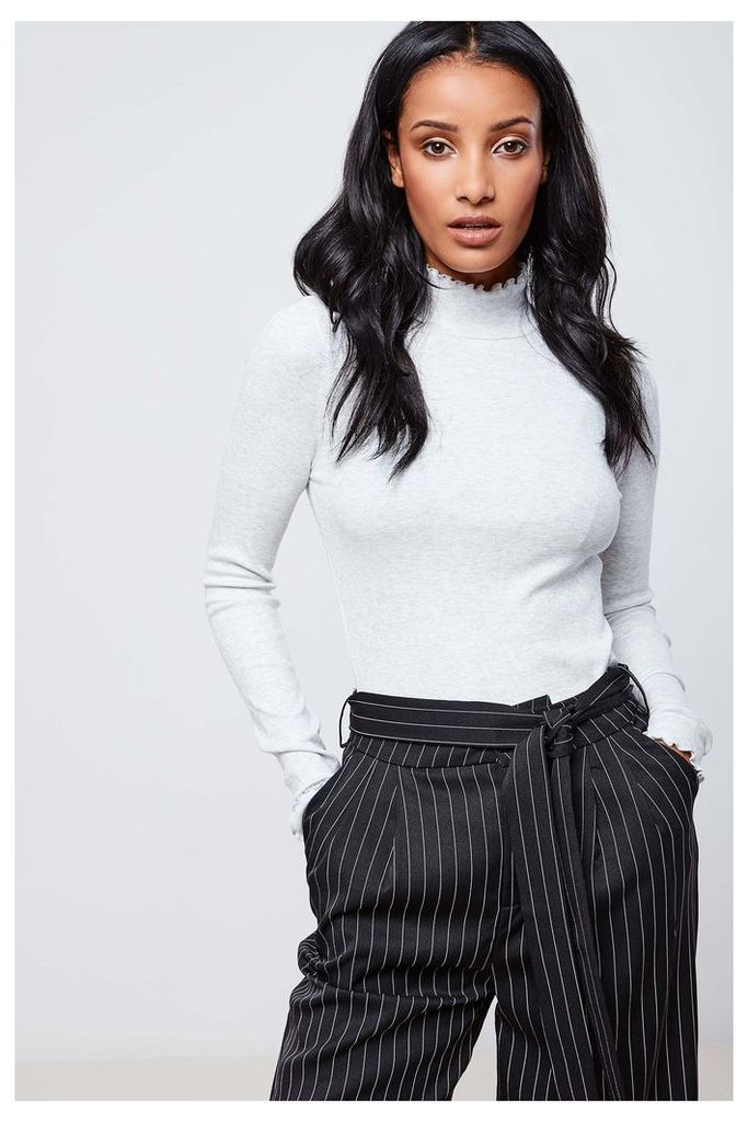 Only Ruffle Neck Top - Grey