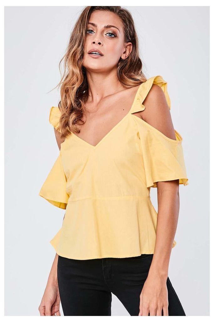Brand Attic Cold Shoulder Frill Top - Yellow