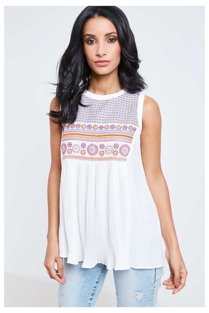 Anita & Green Embroidered Top  - White