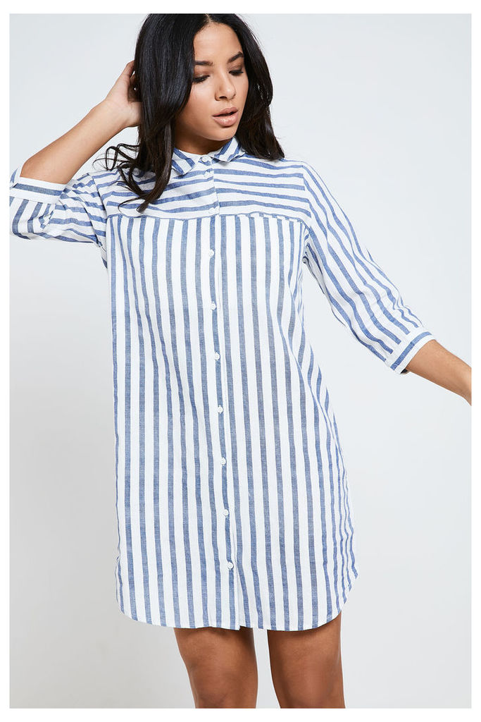 Vero Moda Striped Three Quarter Sleeve Long Shirt - White